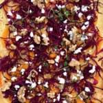 Julig pizza med apelsinkräm, pumpa och rödkål