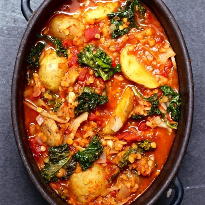 soppa röda linser potatis