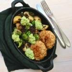 Matvetebiffar med potatis, broccoli och belugalinser