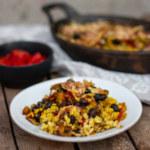 Currygratäng på överblivet ris, paprika, champinjoner och banan