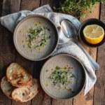 Svampsoppa med vita bönor och timjan