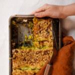 Grön lasagne med ärtröra och spenat